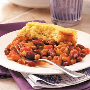 Cornbread Topped Beans