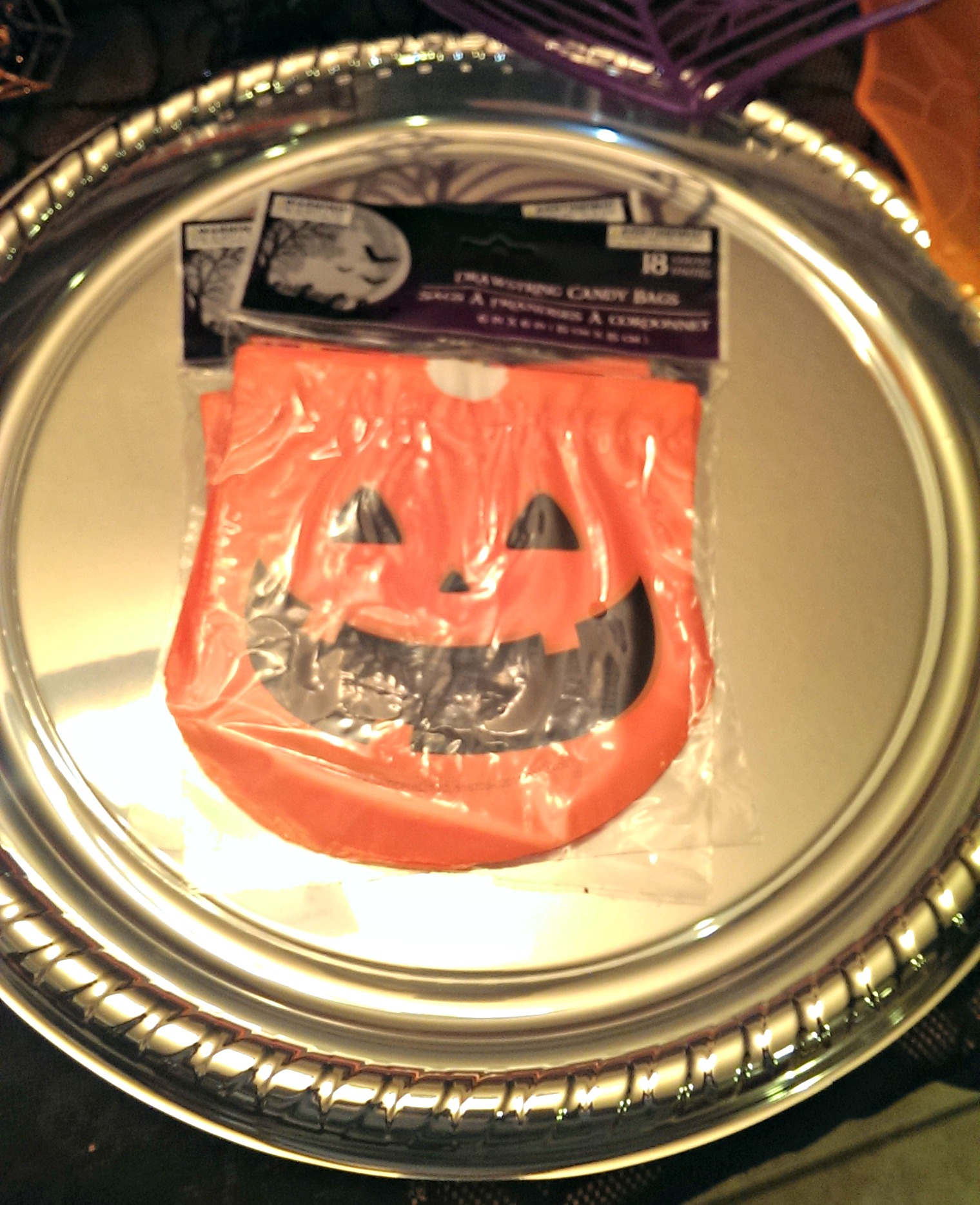 halloween round up from dollar tree treat bags and serving tray