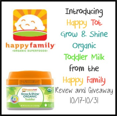Happy Tot Grow and Shine Organic Toddler Milk from the Happy Family Review and Giveaway